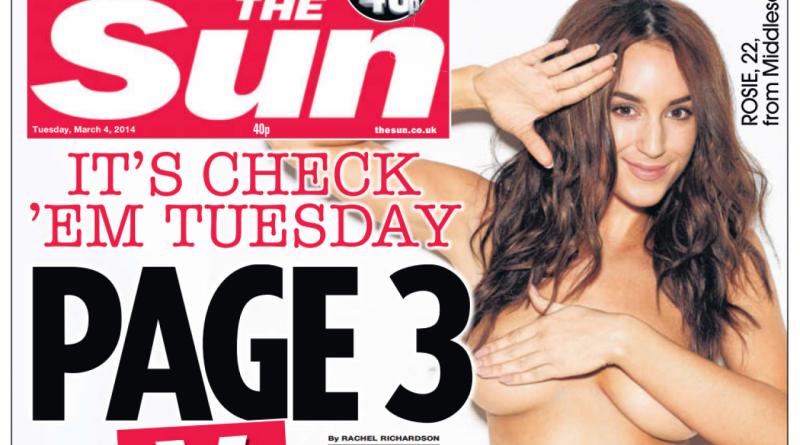 Page 3 girl van The Sun stuit tegen de borst(en)
